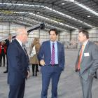 Transport Minister Simon Bridges (centre) officially opens South Port's new intermodal freight...