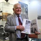 Invercargill historian and writer Alex Glennie with his book A Scrapbook of History - Awarua...