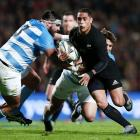 Aaron Smith makes a run against Argentina in Hamilton. Photo Getty