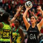 Te Paea Selby-Rickit shoots the ball for the Silver Ferns. Photo: Getty Images