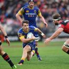 Fletcher Smith on the charge for Otago against Canterbury. Photo Getty