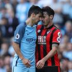 Manchester City's Nolito headbutts Bournemouth's Adam Smith resulting in a red card. Photo: Reuters.