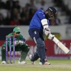 Moeen Ali hits a six for England.  Photo: Reuters