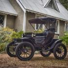 The 112-year-old Baker Electric in the grounds of the Wanaka Anglican Church. Photo: Neville Digby.