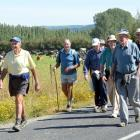 Members of the Mosgiel mens probus walking group stride along Gladfield road in 2014. Photo: ODT.