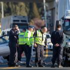 Emergency services at the crash scene. Photo: NZ Herald