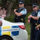 Police at the on Saturday. Photo NZ Herald