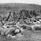 The British advance on the Somme: Warwicks sleeping during a lull in the fighting. - Otago...