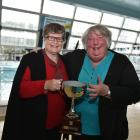 Doreen Ansell (left) and Daphne Loader at Moana Pool on Wednesday evening. PHOTO: Gregor Richardson