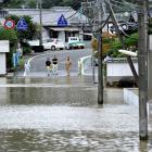 Roads are flooded due to heavy rains caused by Typhoon Malakas in Nobeoka, Japan. Photo: Reuters