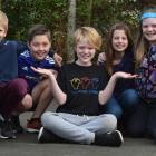 Wakari School pupils (from left) Ella Cone (10), Tom Rasmussen (11), Adam Dunlop (10), Bram Casey...