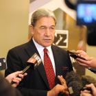 NZ First leader Winston Peters speaks to media in Dunedin this morning. Photo: Christine O'Connor