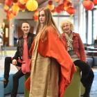 Ms Hayes (right) and show producer Victoria Muir (left) look on yesterday as model Stephanie...