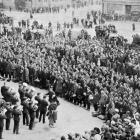 The Otago quota of men for the Twenty-second Reinforcements in Anzac Square, Dunedin, during the...
