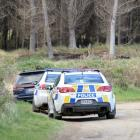 Police cars at the scene at the end of the chase at Waikouaiti. Photo ODT