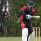 Albion left-hander Sam Wells shifts his balance on to the back foot to play a shot during his...