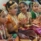 Natyaloka School of Indian Dance members (from left) Srishti Singh (5), Diya Theres Vinod (6),...