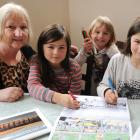 Colouring images in Yvonne King's  book Dunedin To Colour — A Colouring Adventure, are her...