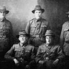 Five Otago boys now in camp at Featherston. Back row (from left): Privates W. R. Dickson (Kuri...