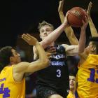 Finn Delany looks to pass for the Breakers against the Sydney Kings in their pre-season...