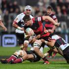 Scott Barrett on the charge for Canterbury against North Harbour at AMI Stadium in Christchurch....