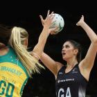Te Paea Selby-Rickit lines up a shot for the Silver Ferns. Photo Getty