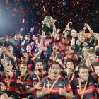 Canterbury players celebrate following their  Mitre 10 Cup final victory over Tasman at AMI...