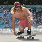 Jeremy Harvey (22), of Canada, enjoys the balmy Dunedin weather yesterday by cutting a few moves...