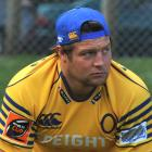 Prop Josh Hohneck warms up for Otago training at Logan Park yesterday. Photo by Christine O'Connor.