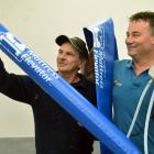 BFW Innovations business partners Larry Burns (left) and Grant Woolford hold up a mattress...