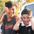 Enjoying the sights and sounds of the Waimate 50 on Saturday are Preston Repia-King (11, left)...