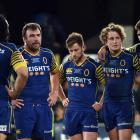 Dejected Otago players reflect on what might have been. {hptps: Peter McIntosh.