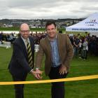James Lovelock (left) and Andrew Whiley officially open the renovated University Oval yesterday....