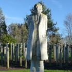 The Shot at Dawn Memorial, created in 2000, is a monument at the National Memorial Arboretum near...
