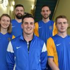 Team captains (from left) Annabelle Gilchrist (women's team), Sean McIntee (futsal), Sean Hamill ...