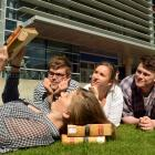 Law students cram outside the University of Otago library before today's crucial examination....