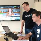Ryan Baker (left) and Andrew Schofield, of Dunedin company Timely, a finalist in the New Zealand...