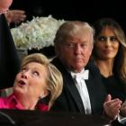 US presidential nominees Donald Trump and Hillary Clinton exchanged pointed jokes when they spoke...