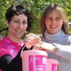 Barb Gee (right) donates to collector Nicola Wilson  for the Pink Ribbon Appeal. Photos:...