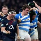 England's Jamie George reacts after a penalty is given. Photo: Reuters