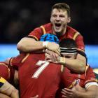 Welsh players celebrate a try against South Africa. Photo Reuters
