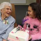 Cromwell woman Elsie McIvor spends time with her great granddaughter Isla Clarke (7) at her 100th...