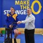 Otago strength and conditioning coach Karl Bloxham (on bike) and Otago Rugby Football Union...