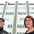 Eye clinic patients Steve Fawcett and Denise Wilson outside Dunedin Hospital yesterday. Photo by...