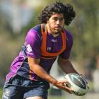 Tohu Harris training with club team the Melbourne Storm. Photo: Getty Images