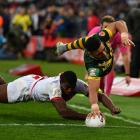 Valentine Holmes scores in the corner for Australia. Photo: Getty Images