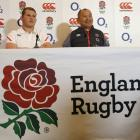 England head coach Eddie Jones and Dylan Hartley during a press conference. Photo: Reuters