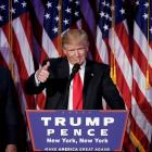 US president-elect Donald Trump addresses supporters during his election-night rally in Manhattan...