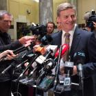 Deputy Prime Minister Bill English speaks to members of the media in Wellington on Monday. Photo:...
