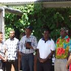 Singing the national anthem of Vanuatu during the 10th anniversary celebration of Seasonal...